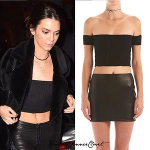 Are You Am I Black Crop Top SEEN ON KENDALL JENNER